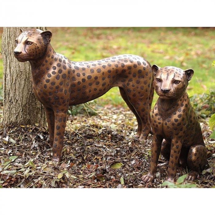 Statuie de bronz moderna Standing cheetah 61x20x73 cm lotusland.ro
