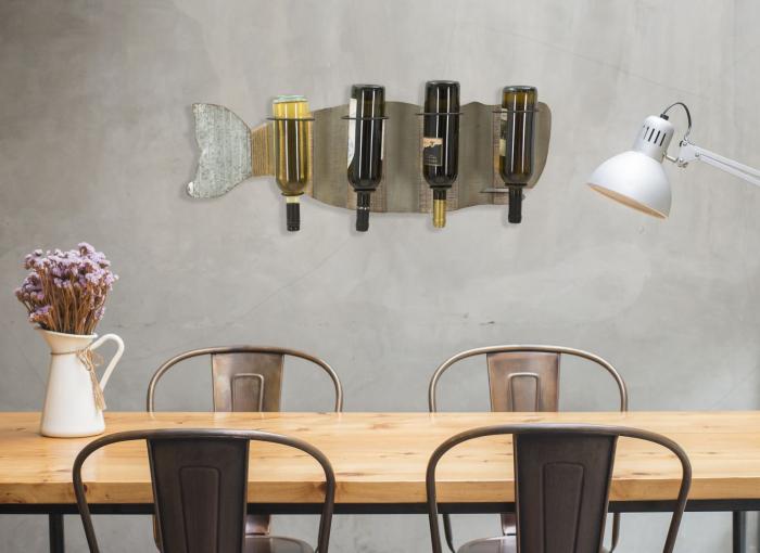 Suport de perete pentru sticle de vin BALENA, 80X12.5X25 cm, Mauro Ferretti 8