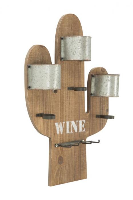 Suport de perete pentru sticle de vin CACTUS, 40X9.5X58 cm, Mauro Ferretti 1