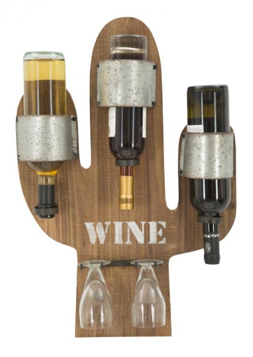 Suport de perete pentru sticle de vin CACTUS, 40X9.5X58 cm, Mauro Ferretti 4