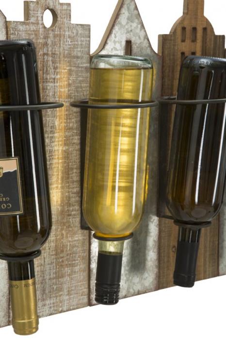 Suport de perete pentru sticle de vin CITY, 60X12X40 cm, Mauro Ferretti 5