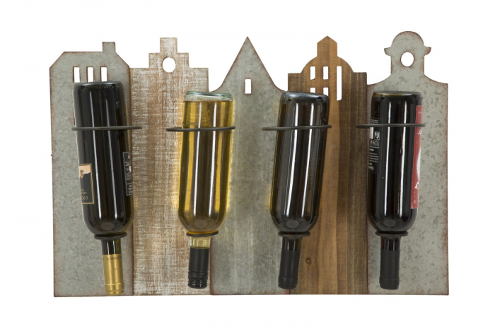 Suport de perete pentru sticle de vin CITY, 60X12X40 cm, Mauro Ferretti 4