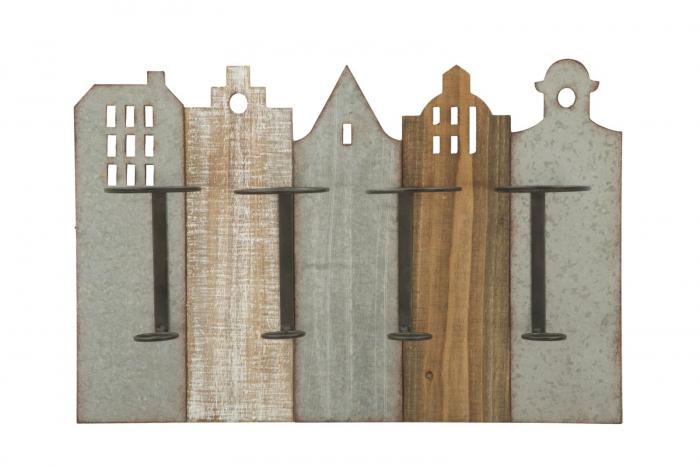 Suport de perete pentru sticle de vin CITY, 60X12X40 cm, Mauro Ferretti 0