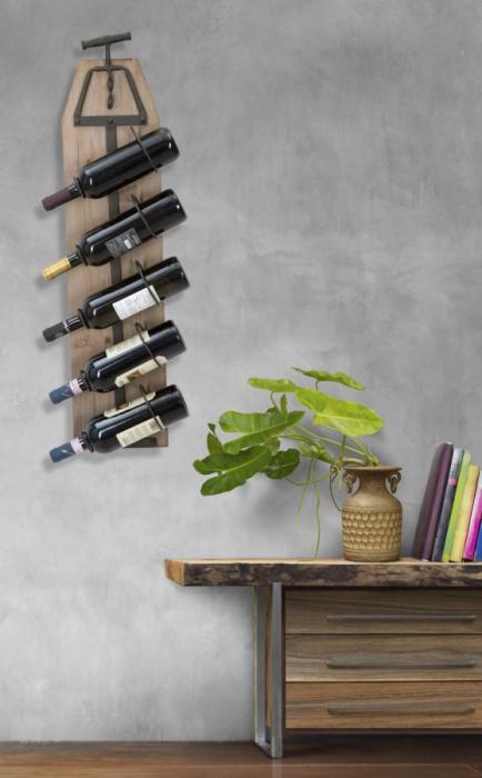 Suport de perete pentru sticle de vin CORK, 20X12.5X86 cm, Mauro Ferretti 7