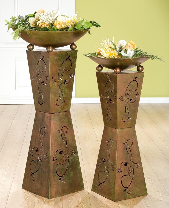 Set 2 suporturi flori Diabolo, metal, 101/98x50 cm 0