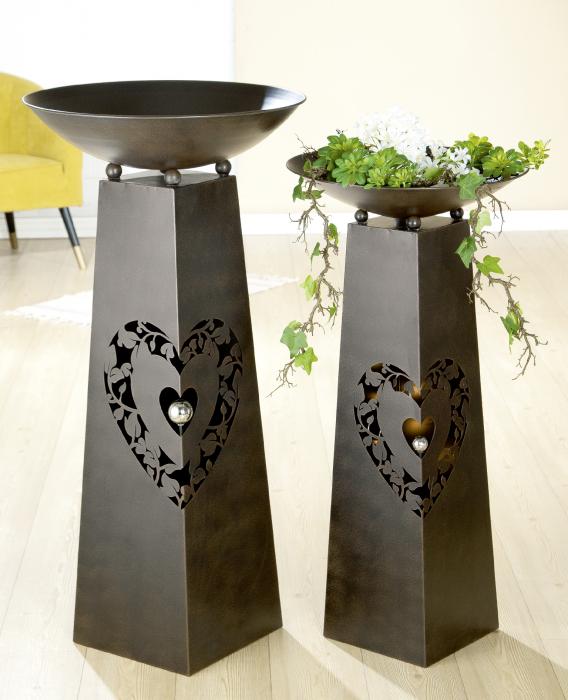 Suport flori Heart Tendril metal, maro, 117x58 cm 1