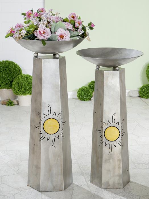Suport flori Sun, metal, argintiu, 117x58 cm 1