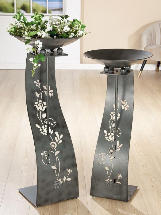 Suport flori Tendril, metal, gri, 114x50 cm lotusland.ro