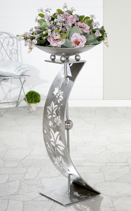 Suport flori Tendrils, metal, argintiu, 110x50 cm 1