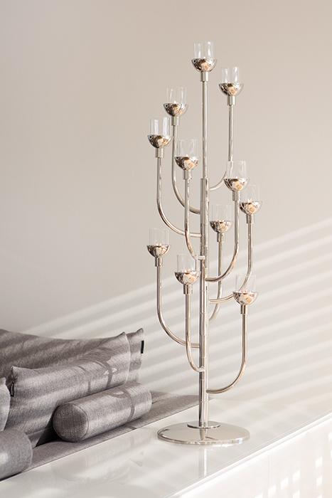 Suport lumanare CASCADE, metal placat cu nichel sticla, 40 x 108 cm 2021 lotusland.ro