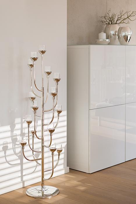 Suport lumanare CASCADE, metal placat cu nichel sticla, 48 x 132 cm 2021 lotusland.ro