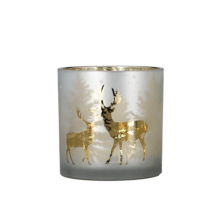 Suport lumanare Deer Forest, sticla, argintiu, 15x15 cm lotusland.ro