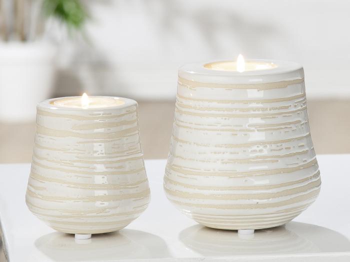 Suport lumanare Deserto, ceramica, crem, 10x10x10 cm lotusland.ro