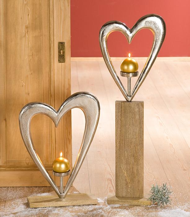 Suport lumanare HEART, aluminiu/mango, 38x10x52 cm 1