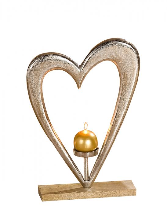 Suport lumanare HEART, aluminiu/mango, 38x10x52 cm 0