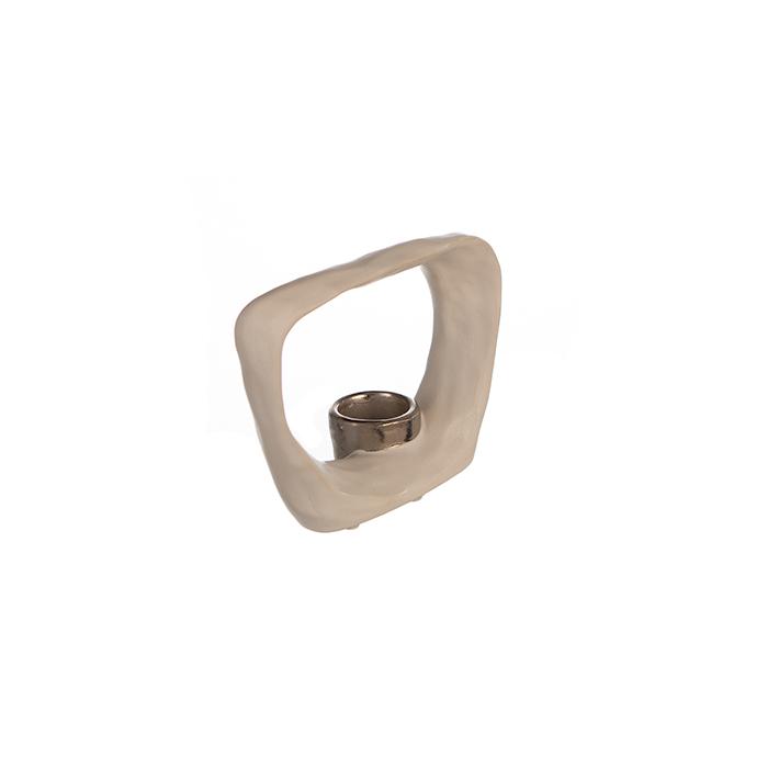 Suport lumanare KADOMA, ceramica, alb/argintiu, 14.5x20 cm 1