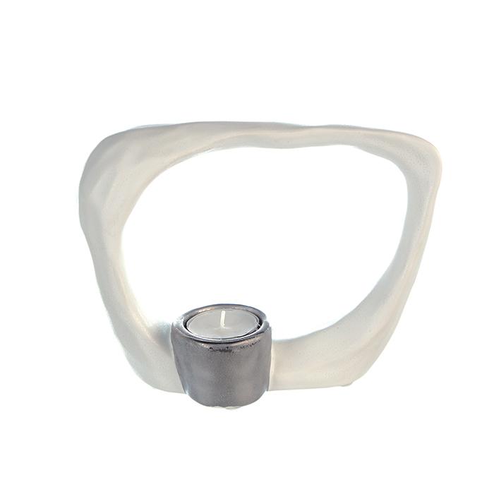 Suport lumanare KADOMA, ceramica, alb/argintiu, 14.5x20 cm 0
