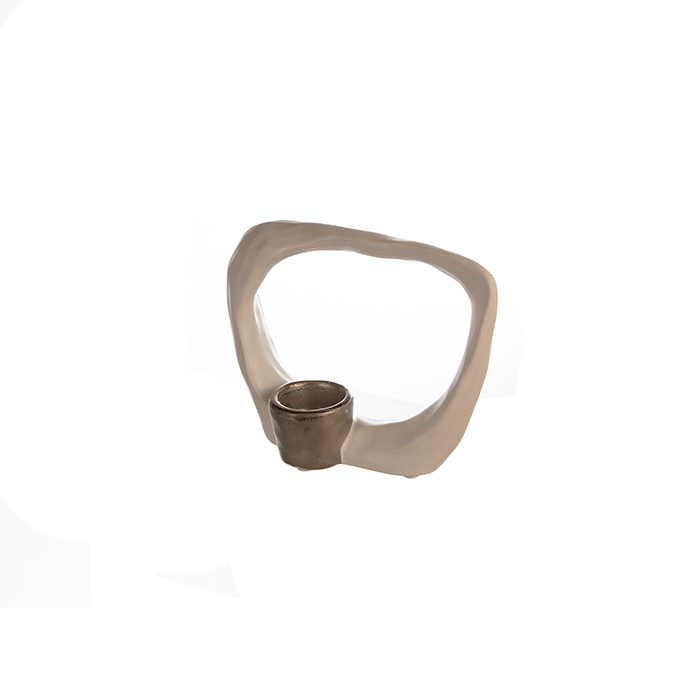 Suport lumanare KADOMA, ceramica, alb/argintiu, 14.5x20 cm 2
