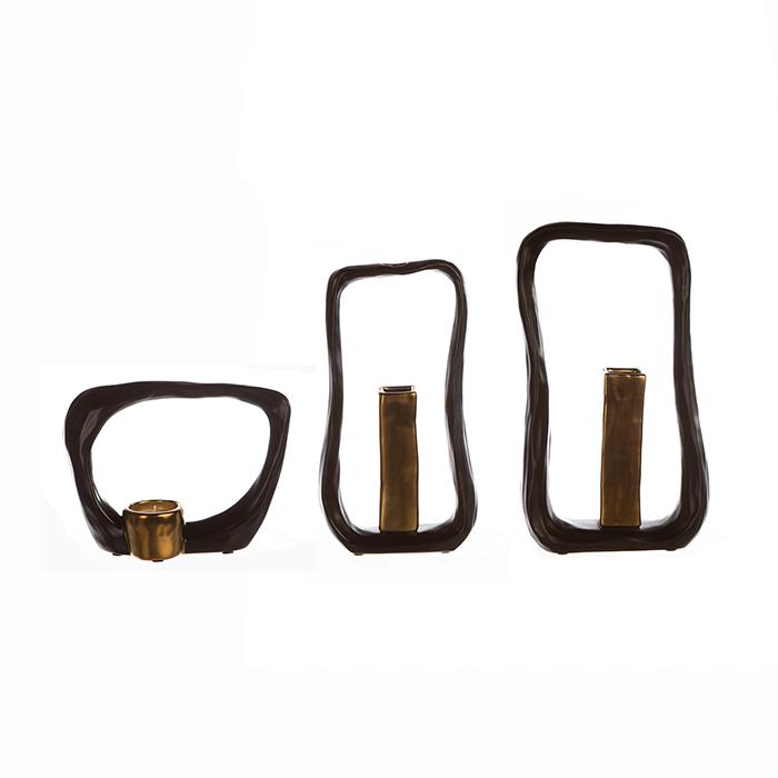 Suport lumanare KADOMA, ceramica, maro/auriu, 14.5x20 cm 1