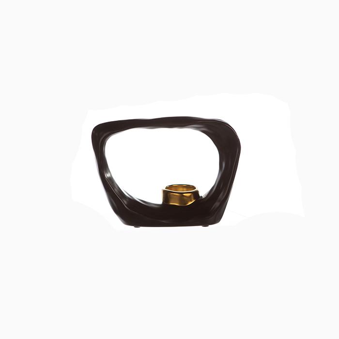 Suport lumanare KADOMA, ceramica, maro/auriu, 14.5x20 cm 2