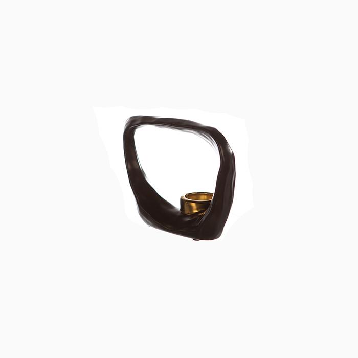 Suport lumanare KADOMA, ceramica, maro/auriu, 14.5x20 cm 3