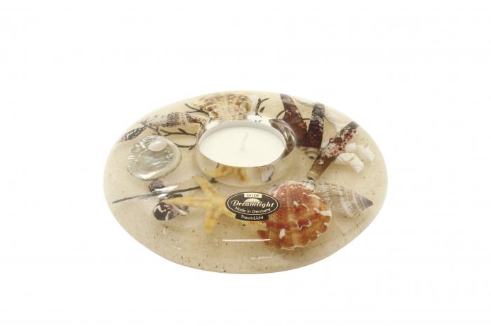Suport lumanare mini SEA BREEZE, sticla, 13x5 cm 0