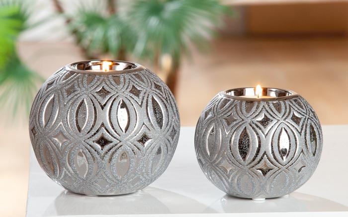 Suport lumanare Ovado, ceramica, gri, 10x8x10 cm lotusland.ro