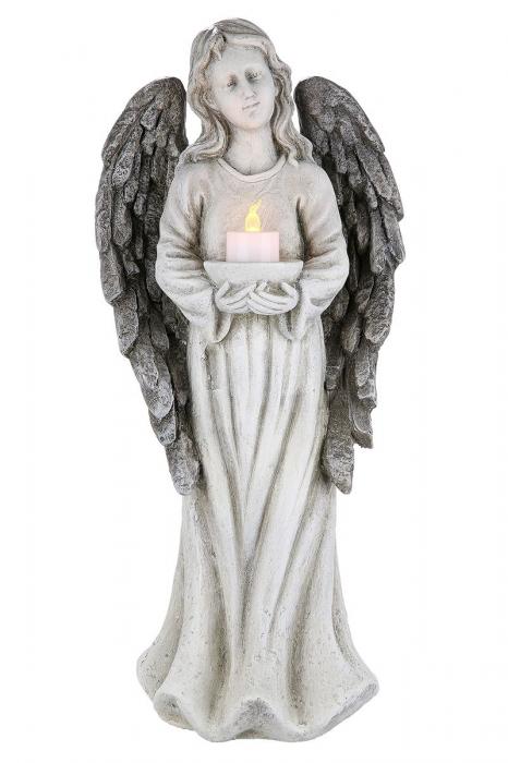Suport lumanare pastila ANGEL cu lumanare LED, rasina, 15.5x22x49.5 cm 2