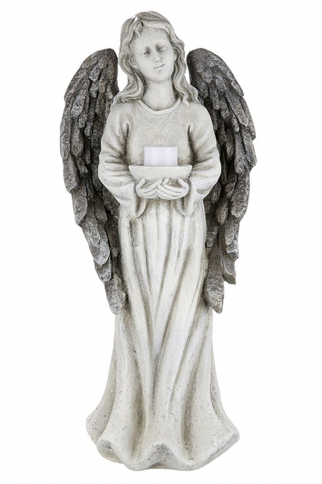 Suport lumanare pastila ANGEL cu lumanare LED, rasina, 15.5x22x49.5 cm 1