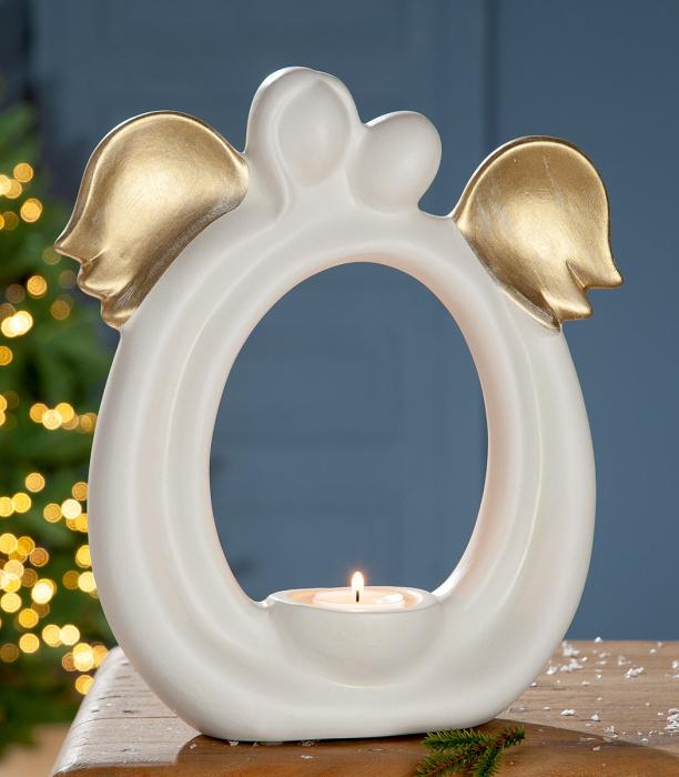 Suport lumanare pastila ANGEL, ceramica, 25x9x27 cm lotusland.ro
