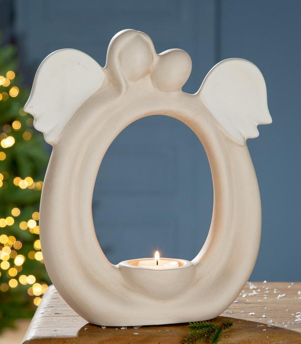 Suport lumanare pastila ANGEL, ceramica, 25x9x27cm lotusland.ro
