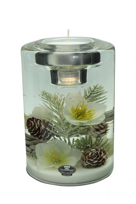 Suport lumanare pastila cu LED inclus DREAM- flower, sticla, 12x17 cm 2021 lotusland.ro