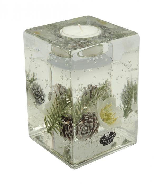 Suport lumanare pastila DREAM-cube, sticla, 9x9x13 cm imagine 2021 lotusland.ro