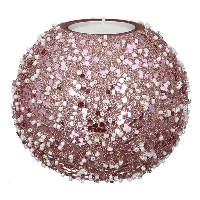 Suport lumanare Rose Nuggets, sticla, roz, 6x8 cm lotusland.ro