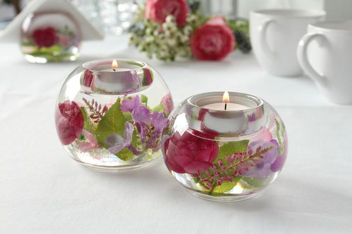Suport lumanare Sweet Blossom , sticla, multicolor, 6x8 cm lotusland.ro