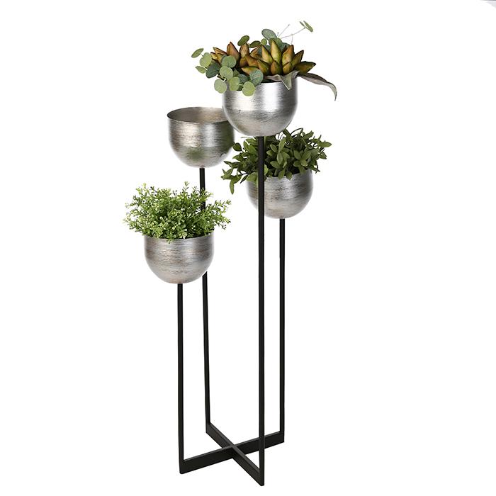 Suport flori Quattro, metalic, argintiu/negru, 97x36x36 cm 0