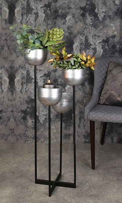 Suport flori Quattro, metalic, argintiu/negru, 97x36x36 cm 2