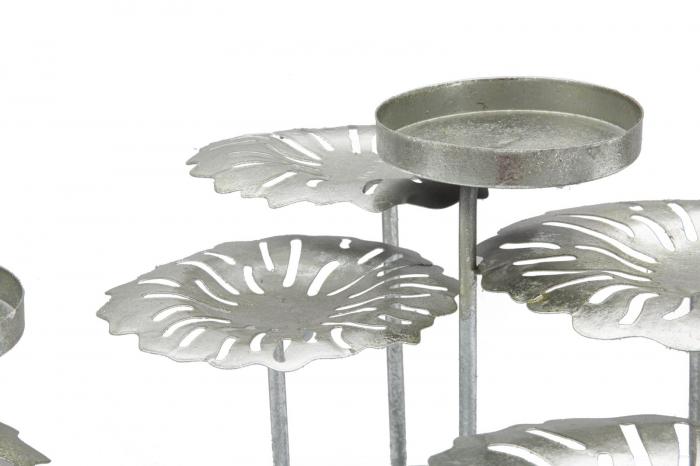 Suport pentru lumanare ROUND-PLUS, argintiu,  (cm) 37,5X37,5X17 1