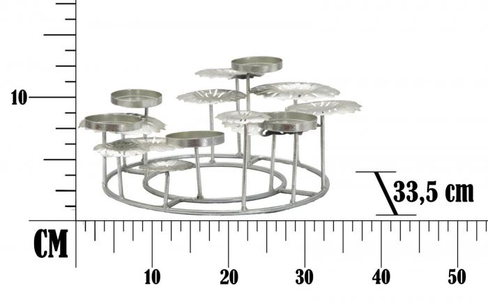 Suport pentru lumanare ROUND-PLUS, argintiu,  (cm) 37,5X37,5X17 7