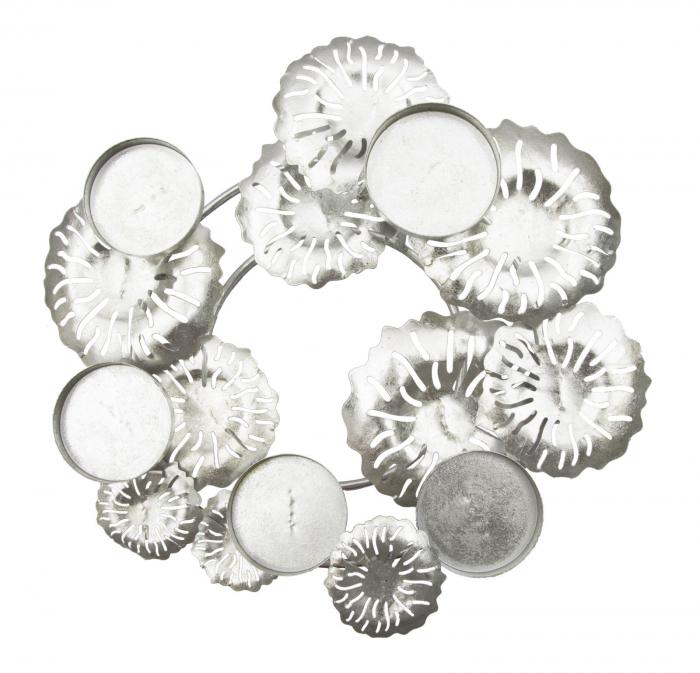 Suport pentru lumanare ROUND-PLUS, argintiu,  (cm) 37,5X37,5X17 2