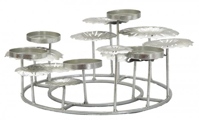 Suport pentru lumanare ROUND-PLUS, argintiu,  (cm) 37,5X37,5X17 0