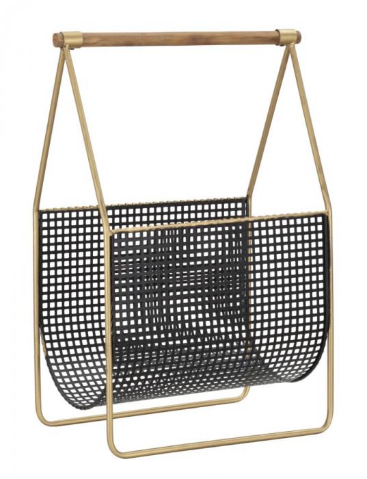 Suport pentru reviste Fashion, lemn/fier, negru/uriu, 37X23X54.5 cm 1