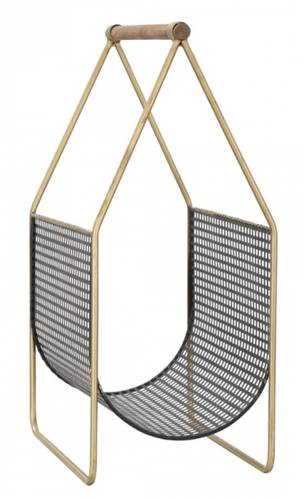 Suport pentru reviste Fashion, lemn/fier, negru/uriu, 37X23X54.5 cm 3