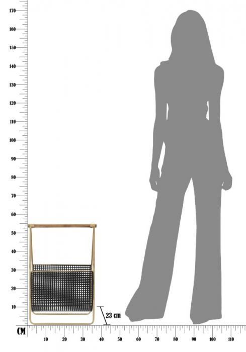 Suport pentru reviste Fashion, lemn/fier, negru/uriu, 37X23X54.5 cm 7