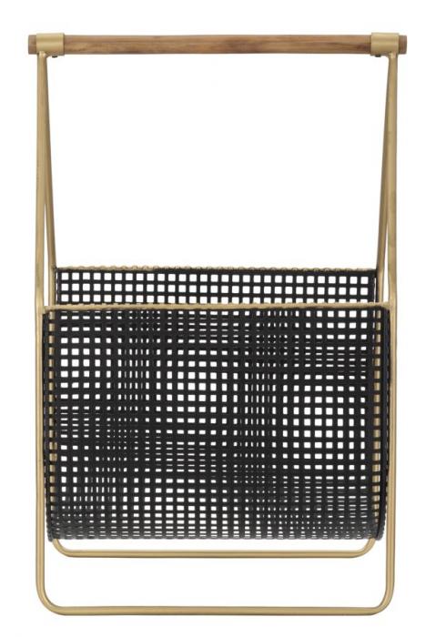 Suport pentru reviste Fashion, lemn/fier, negru/uriu, 37X23X54.5 cm 2