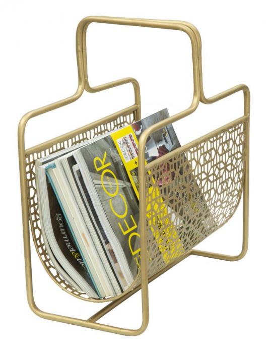 Suport pentru reviste Glam, fier, auriu,  37X22X44.5 cm 7