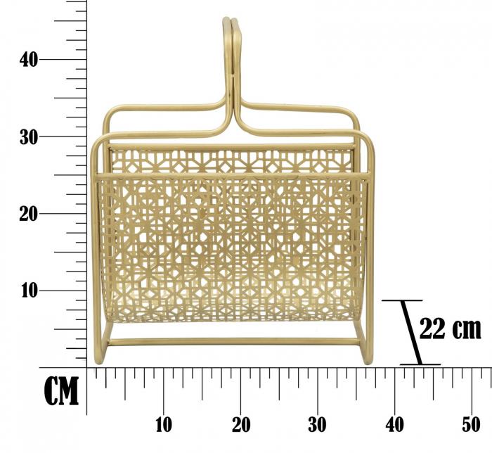 Suport pentru reviste Glam, fier, auriu,  37X22X44.5 cm 9