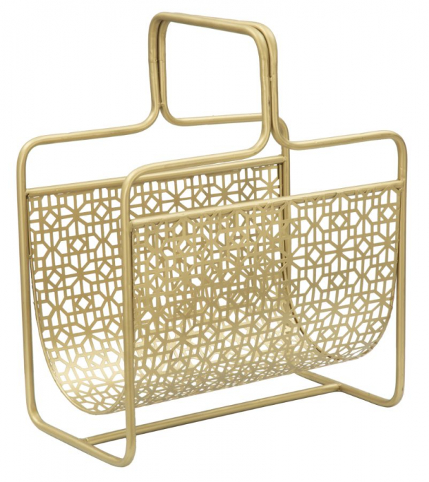 Suport pentru reviste Glam, fier, auriu,  37X22X44.5 cm 0