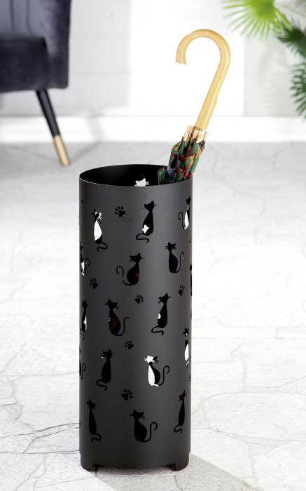 Suport pentru umbrela Cats, metal, negru, imagine 2021 lotusland.ro