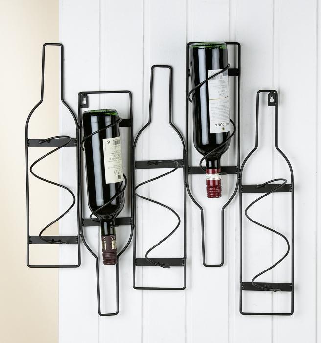 Suport suspendat pentru 5 sticle vin, metal, negru, 56x10x55 cm lotusland.ro